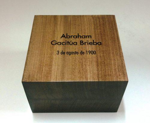 Galvano bloque de madera grabado laser