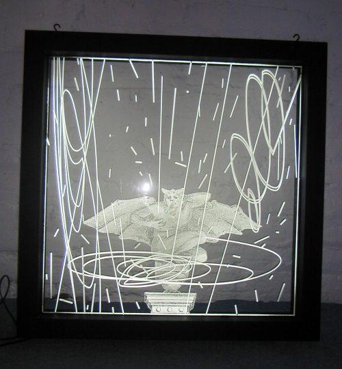 acrilico grabado laser efecto espejo iluminado led light box