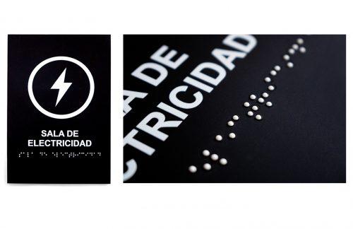 Señalética transito edificios construcción corporativa evacuación braille
