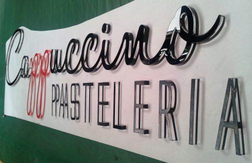 corte laser letras acrilico pintura efecto espejo