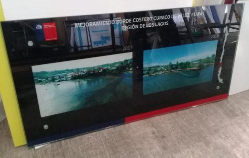cuadro corporativo cristal templado adhesivo digital efecto espejo