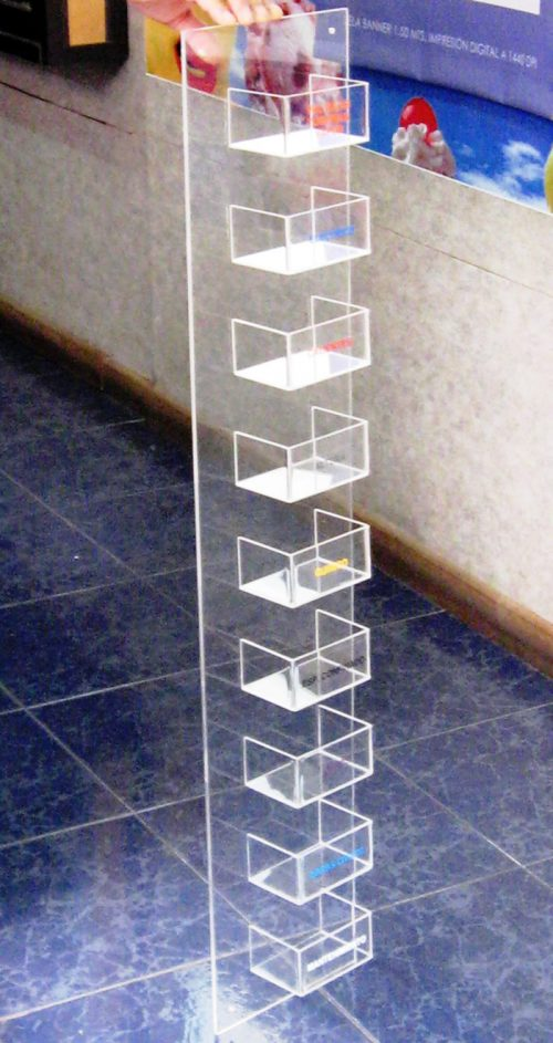 exhibidor acrilico niveles muro 9 cajas