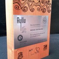 galvano bloque de madera grabado laser mas placa acero inox