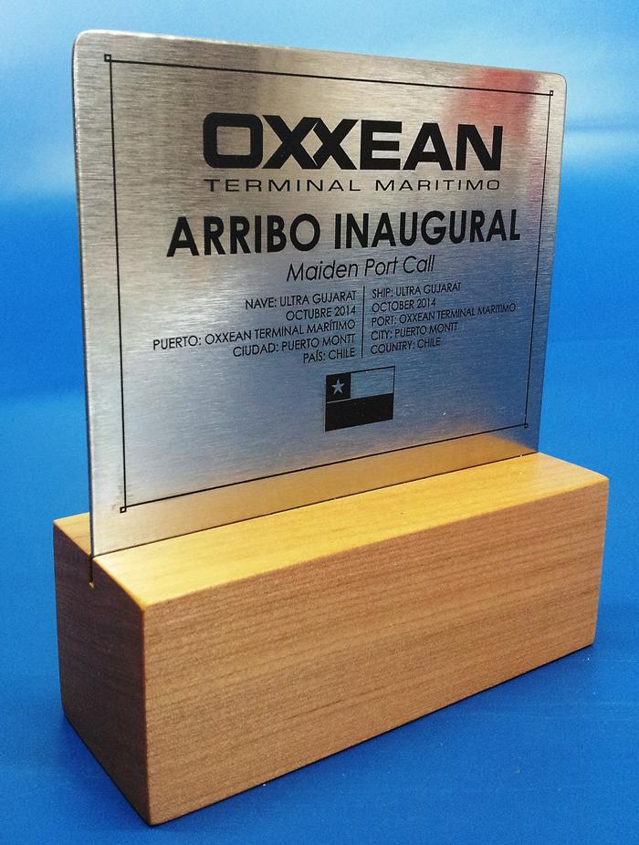 Galvano acero base madera grabado laser