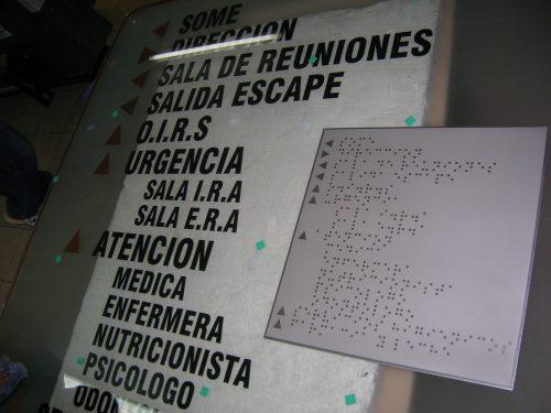 placa acero braille fotograbado