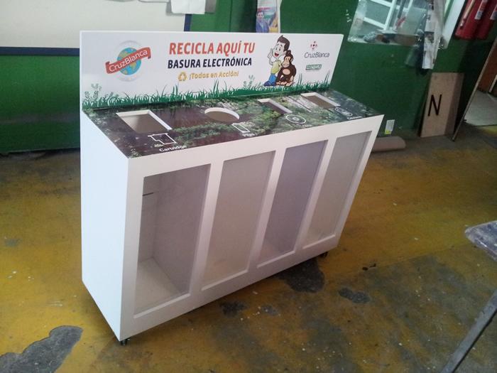 Buzon Reciclaje madera frente acrilico